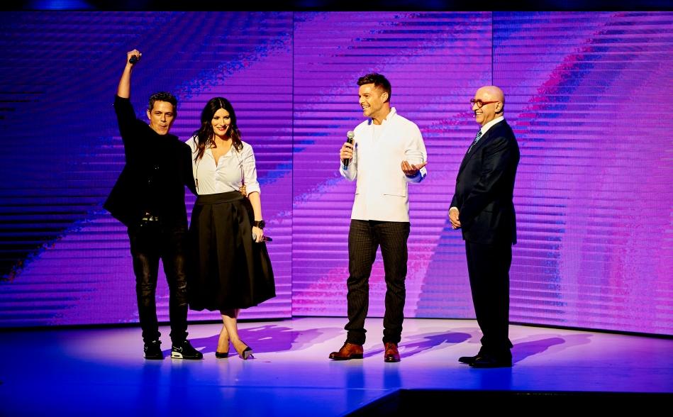 Univision Upfront - Alejandro Sanz, Laura Pausini, Ricky Martin and Alberto Ciurana (Credit Univision)